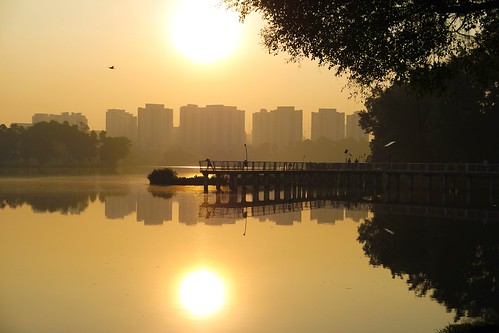 sun lake reflection sunrise singapore ngc boardwalk joggers juronglakepark