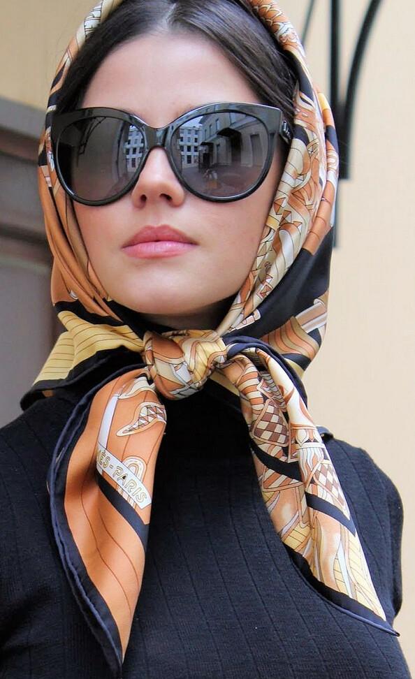 Headscarf and sunglasses