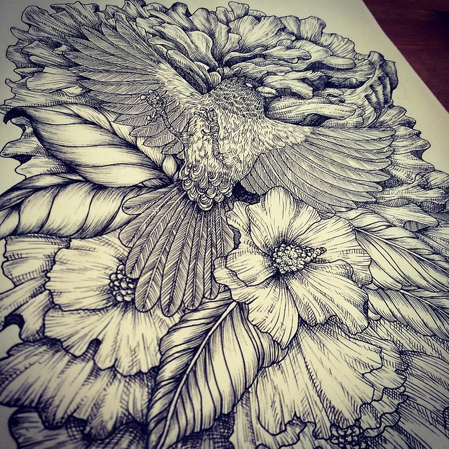 Done for line drawing and need to be colored. :) #instadraw #instaart #noahsart #line #art #artist #bird #black #monochrome #blackandwhite #ink #detail #details #dots #sketch #doodle #drawing #flowers #flower #illustrator #illustration #artist #artwork #a