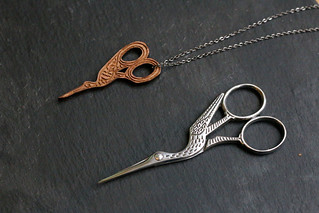 Stork Scissors by Ernest Wright & Son, and Stork Scissors Necklace by Frilly Industries | by English Girl at Home