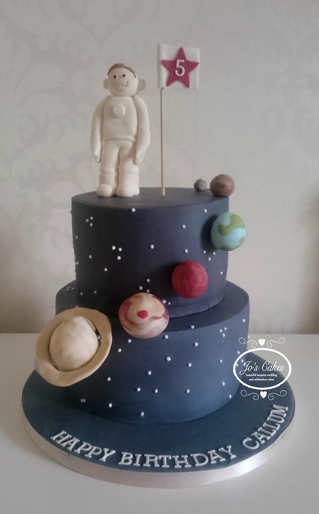Excellent Space Themed 5Th Birthday Cake White Rose Cake Design Flickr Funny Birthday Cards Online Inifofree Goldxyz