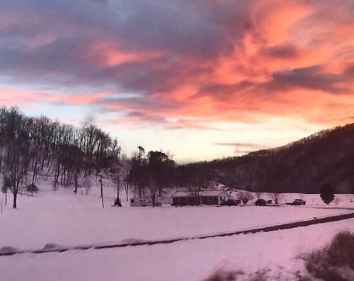 winter sunsets westvirginia summerscountywv amtrakviews