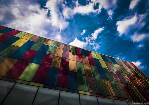 windows light sky canada building glass station architecture clouds triangles composition facade reflections underground design colorful warm downtown shadows view metro quebec pov montreal centre perspective wideangle lookup convention rectangles villemarie placedarmes
