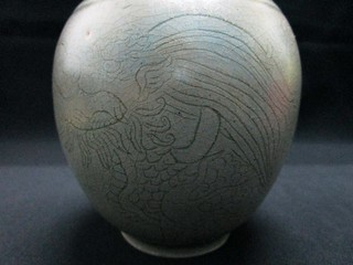 A Tang Yue Kiln carved Celadon Porcelain Vase with five-clawed dragon Tang Dynasty 唐越窯秘色青瓷劃花五爪龍紋弦紋長頸撇口瓶 | by Orion Museum