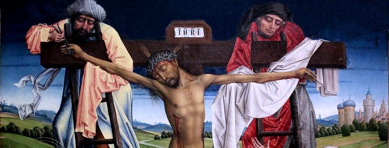 IMG_3322W Maitre de la Légende de Sainte Catherine. Master of the Legend of Saint Catherine. Actif à Bruxelles vers 1460-1500.  Triptyque de la Descente de Croix.  Triptych of the Descent from the Cross. Cologne Wallraf Richartz Museum.