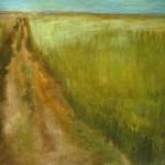 Feldweg im Banat, 100x120 cm, Mischtechnik auf ungrundierter Leinwand