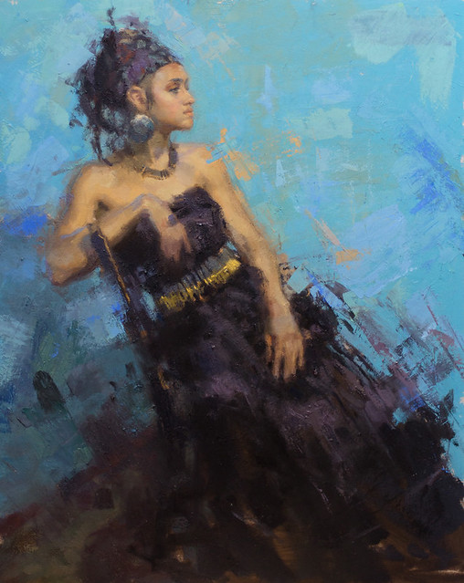 Aaron Coberly — Katrina Blue, 2010. Painting: Oil on canvas, 20 x 24 in. Via Art of Darkness: Daily Art Blog