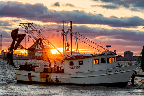 sunset water canon boat fishing texas texascity shrimping 7dmarkii