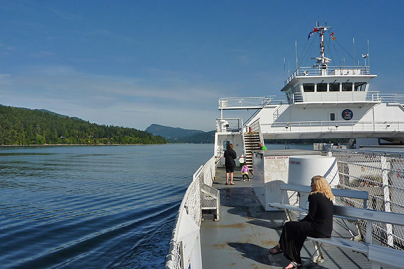 Ferry leaving Swartz Bay in Victoria for Fulford Harbour on Saltspring Island, Gulf Islands, British Columbia
