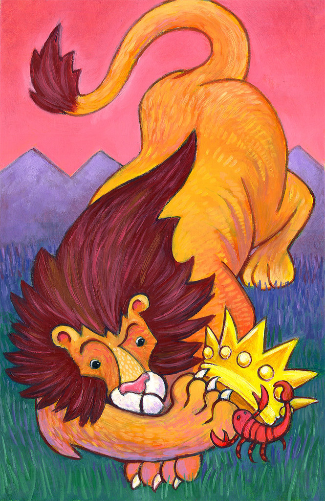 Lion And Scorpion Oil On Paper Done As A Portfolio Piece