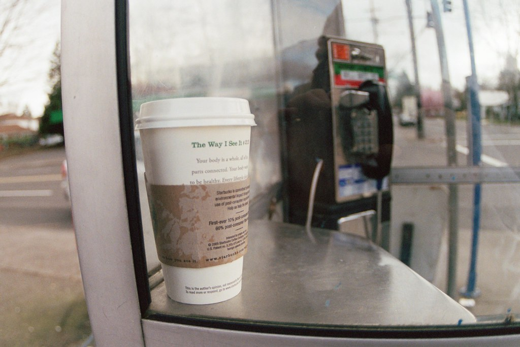 starbucks coffee left on payphone shelf, 39th and gladstone