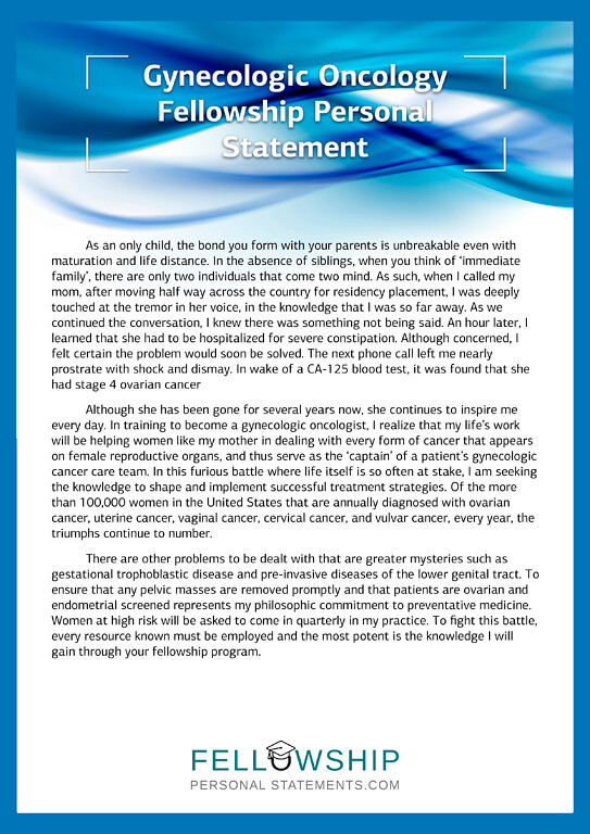 Gynecologic Oncology Fellowship Personal Statement Sample