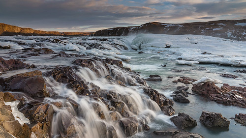 ice water rock sunrise river landscape waterfall iceland outdoor selfoss southiceland urridafoss urriðafoss