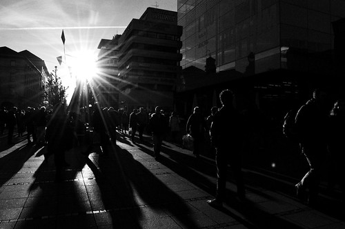 street sunset bw sun germany stuttgart crowd