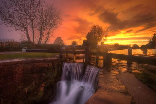 ireland sky sun fall water set canal gate long exposure lough grand hdr lucan