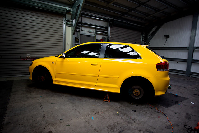 Audi S3 8P Gloss yellow full wrap, reflective calipers and custom camo graphics
