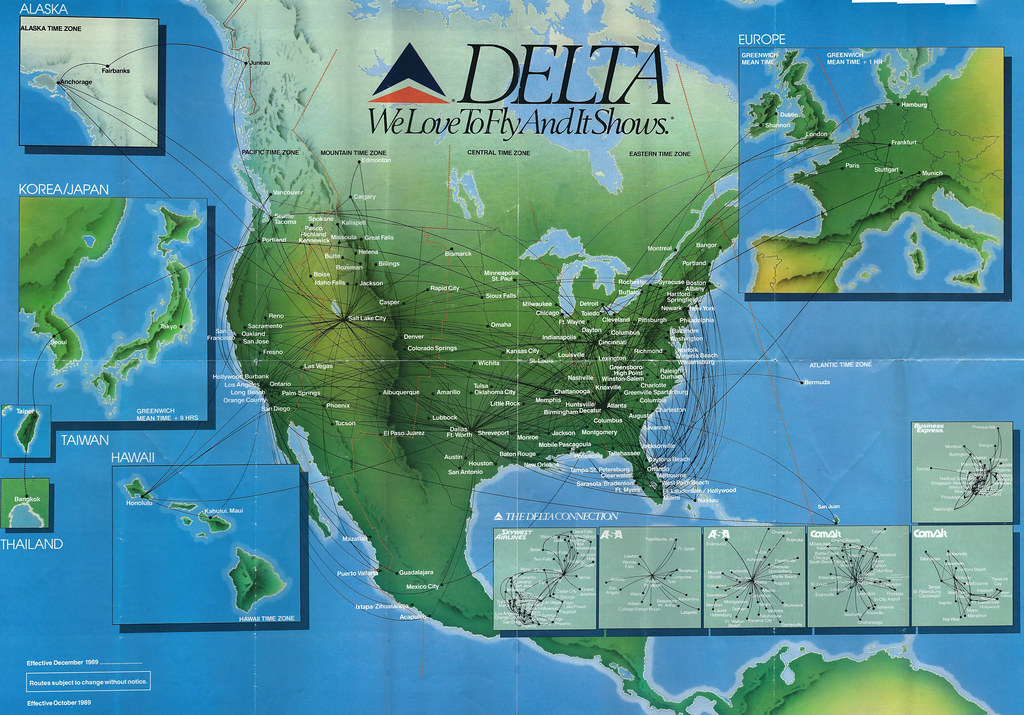 Delta system route map, fall 1989 | A Delta Air Lines system… | Flickr