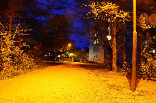 beleuchtete Wege gen Wohnhäuser