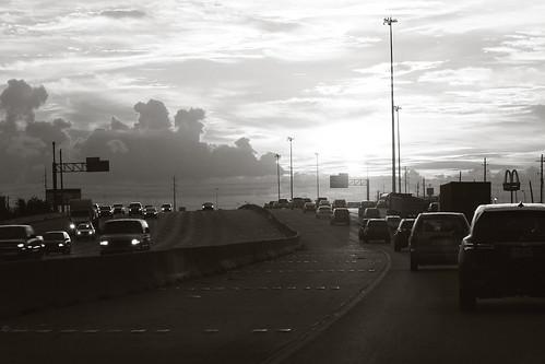morning cars monochrome sunrise highway driving texas traffic houston commute loop610 i610 janbuchholtz