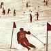 Gustl Berauer vyhrává slalom, Májová závod 1937 na svazích Kozích hřbetů, reprofoto: Sběratel Českých lyžařských ocenění a vyznamenání, foto: Historická foto lyžařů