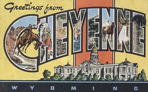 vintage postcard greetings wyoming bigletter