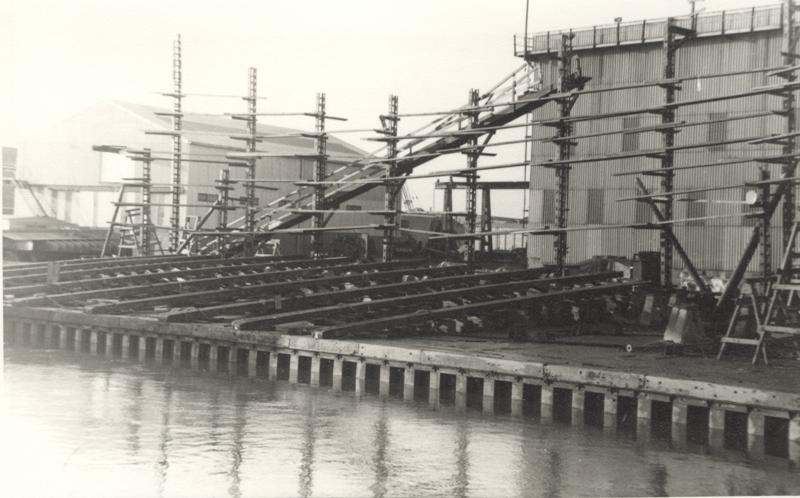 Grovehill shipyard showing slip rails for sideways launch 1960s (archive ref DDX1525-1-3)