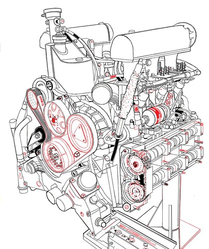 1996 Porsche 911 GT1 cam cover off, color yourself 19_30 | by wbaiv