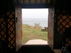 view from our pao tent at Tsutsujiso Lodge on Naoshima island