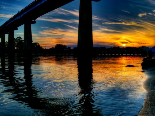 bridge sunset water silhouette clouds florida shoreline shore pensacola perdido galaxys5