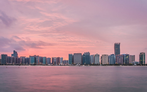 city red sea reflection skyline sunrise uae abudhabi