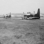 1970 Bristol Freighters NZ5902 and NZ5907 at Dili, East Timor, Indonesia, returning to NZ from Singapore after participating in the Jun-Jul 'Exercise Bersatu Padu', 5 Jul 1970.