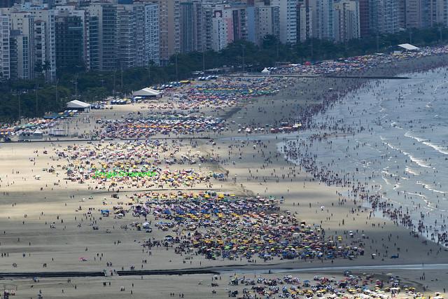Santos beach on a sunny sunday