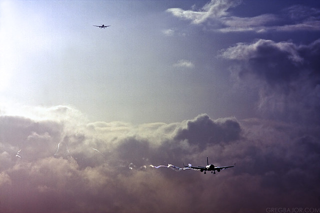 Commercial airplanes landing at London Gatwick Airport, UK