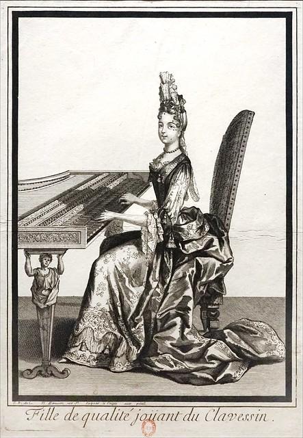 Fille de qualité jouant du clavecin (Bibliothèque nationale de France)