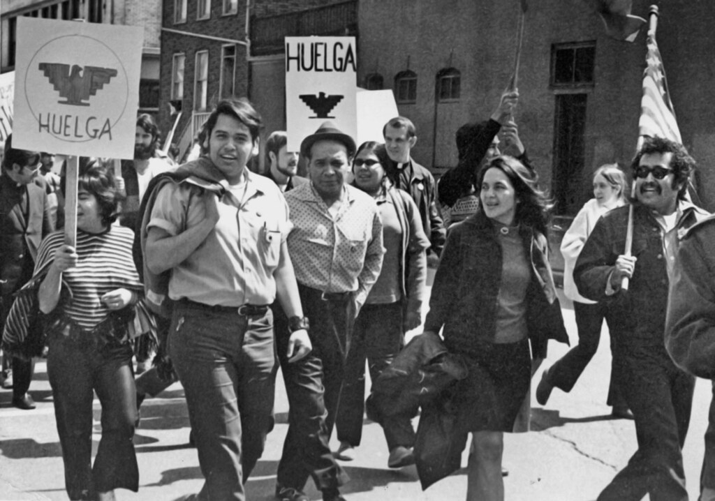 Eliseo Medina, left and Dolores Huerta at a 1971 march in Chicago.<br><br>family photo