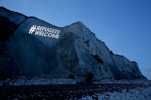 #RefugeesWelcome projection Dover | by Global Justice Now