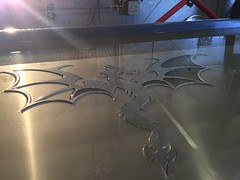 Dragon cut on our waterjet. Kyle is made out of quarter inch aluminum.