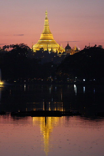 sunset lake reflection night landscape gold pagoda scenery view shwedagon yangon burma myanmar burmese kandawgyi