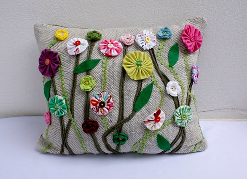 pillow with flowers | by ergani_weaving