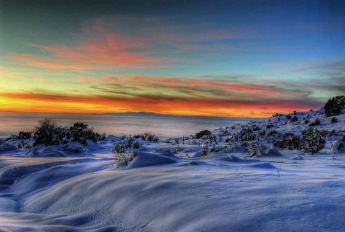 sunset snow newmexico albuquerque hdr 2007 sandias buggs