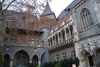Inner court of the Vajdahunyad Castle, City Park, Budapest, Hungary
