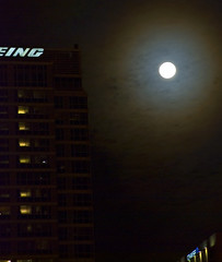 Wintry Moon Rise over Boeing | by swanksalot