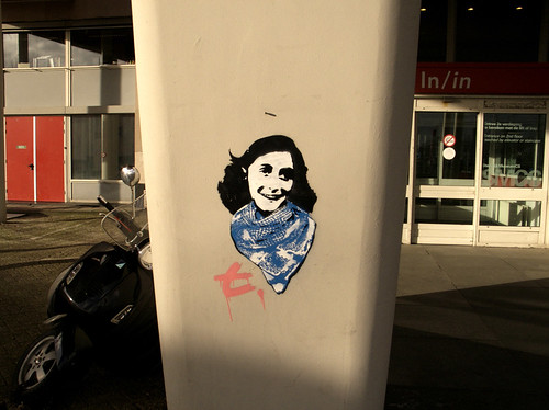 vespa with stenciled Anne Frank, Amsterdam | by Mike-wise