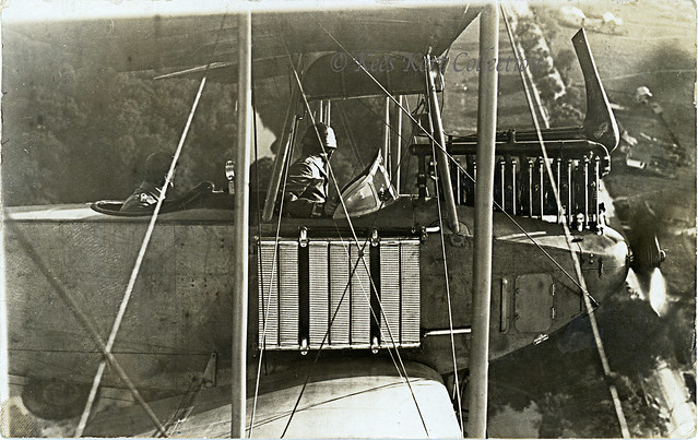 An in-flight picture of an Albatros B-type biplane. The picture is probably taken from a camera mounted on the outward wing strut [Germany, 1915]