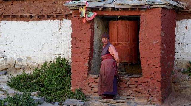 Mornings and evenings she walks the kora around Rongphu monastery, Tibet 2015