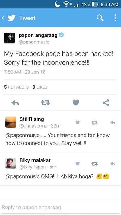 Oops    Papon da's Facebook account has been hacked  http