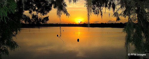 sunset sun lake water beauty sunrise canon landscape moss flickr outdoor tranquility powershot serene oaktree kissimmee waterscape floirida