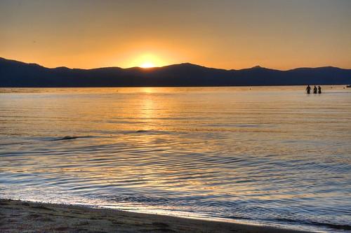 california blue sunset orange mountain lake reflection boys water sand laketahoe alpine southlaketahoe threeboys threemen threeguys waterpictorial joelach