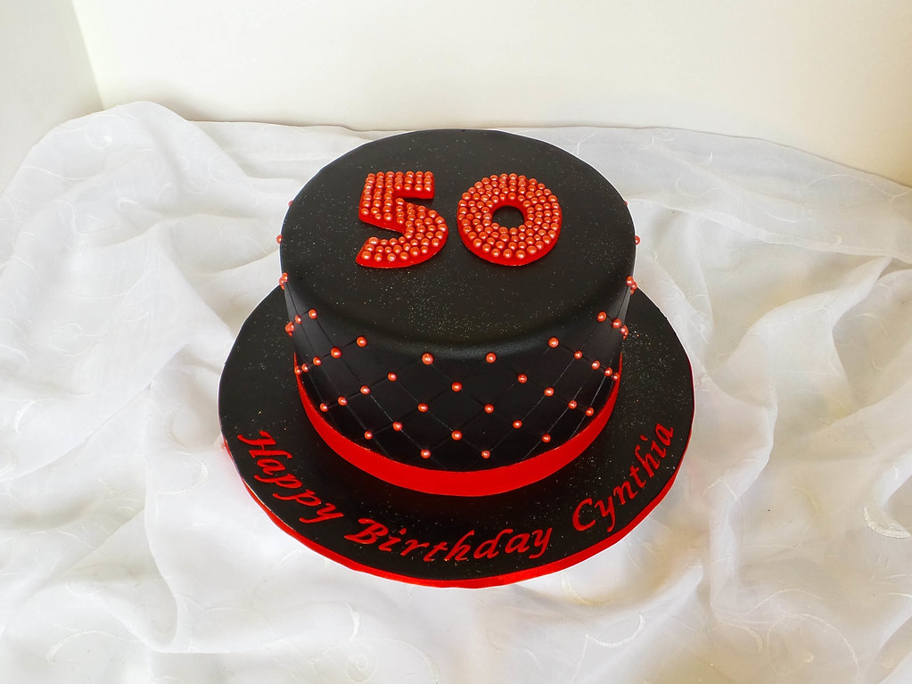 Amazing 50Th Black And Red Birthday Cake Willi Probst Bakery Flickr Funny Birthday Cards Online Bapapcheapnameinfo