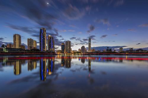 travel reflection clouds sunrise australia wideangle queensland bluehour goldcoast nerangriver surversparadise nikond800